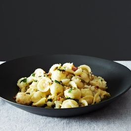 Orecchiette with Cauliflower, Breadcrumbs, Pancetta, and Pepitas