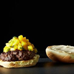 Glazed Five Spice Burger with Gingery Mangos