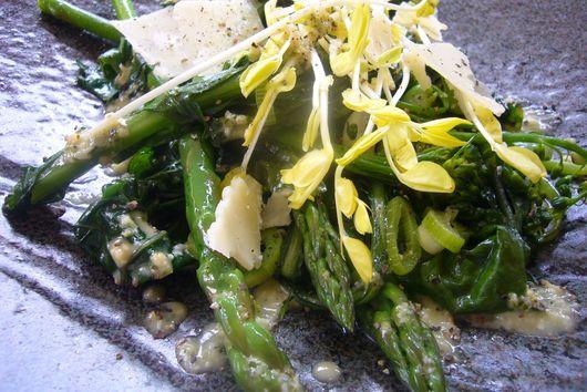 Warm Spring Salad with Meyer Lemon and Green Garlic Vinaigrette