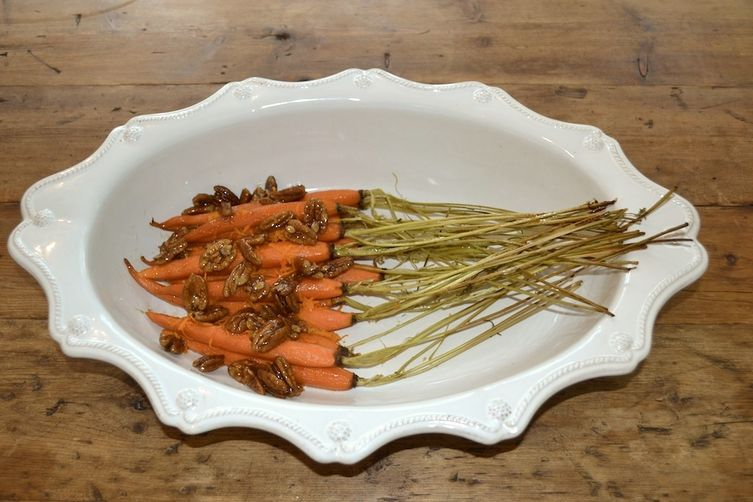 Roasted Carrots with Fleur de Sel Maple Candied Pecans and Orange Zest