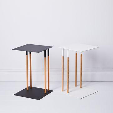Steel And Wood Slide Under Sofa Table