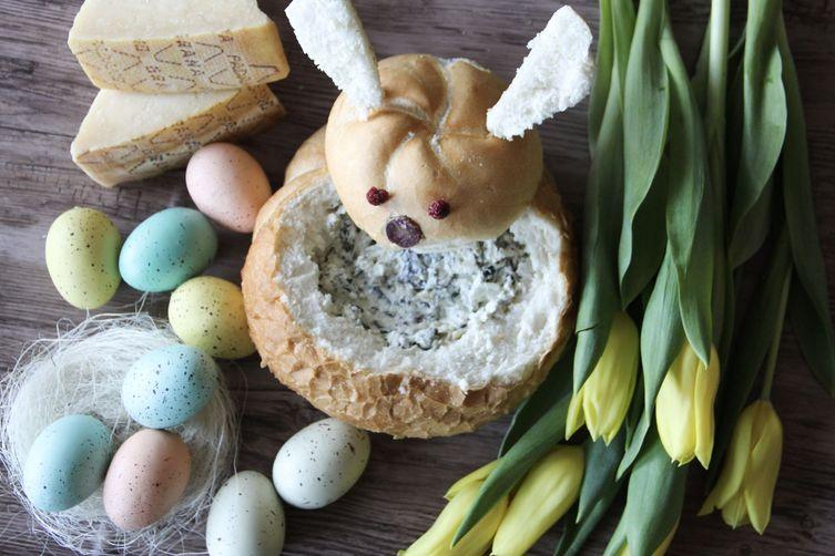 Easter Bunny Bread Bowl with Grana Padano Kale Artichoke Dip