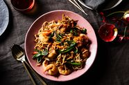Long Life Noodles with Shrimp and Greens