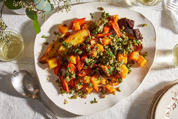 Roasted Vegetables with Bright & Crunchy Herbed Topping