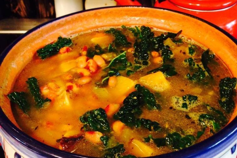 Heirloom Anasazi Bean Soup with Butternut Squash, Kale and Gruyere crouton