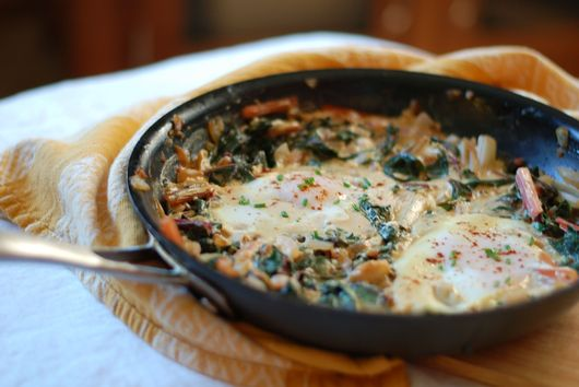 Creamy Swiss Chard with Eggs