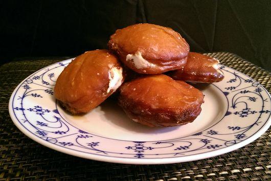 Coffee-Glazed Doughnuts with Bourbon Cream Filling