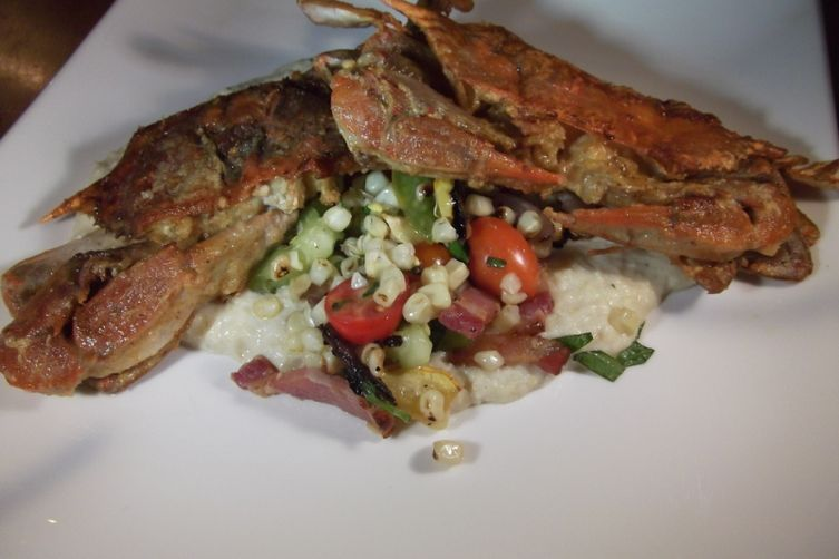 Soft Shelled Crabs with Charred Corn Salad and Corn Puree