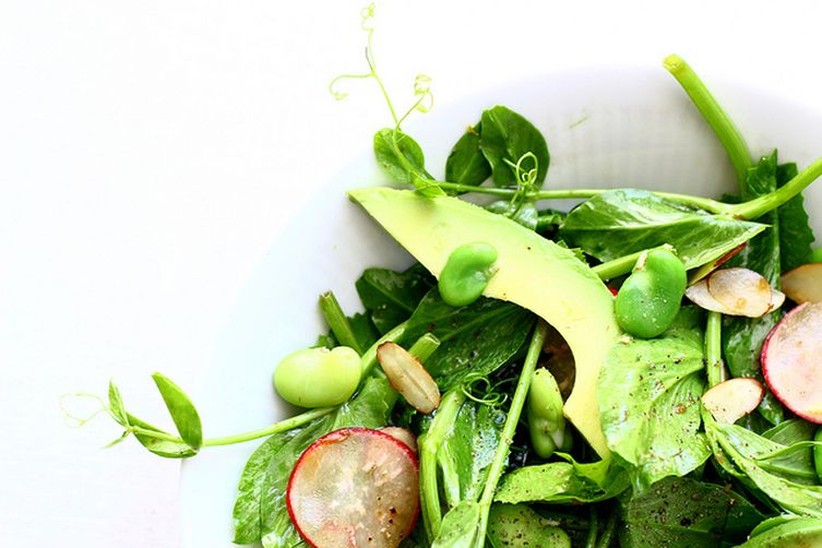 Pea Shoot Salad with Fava Beans