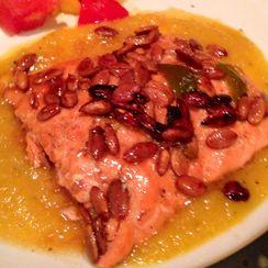 Pan-Seared Salmon with Smoky Pepita Crust and Sweet Jalapeño Pepper Sauce