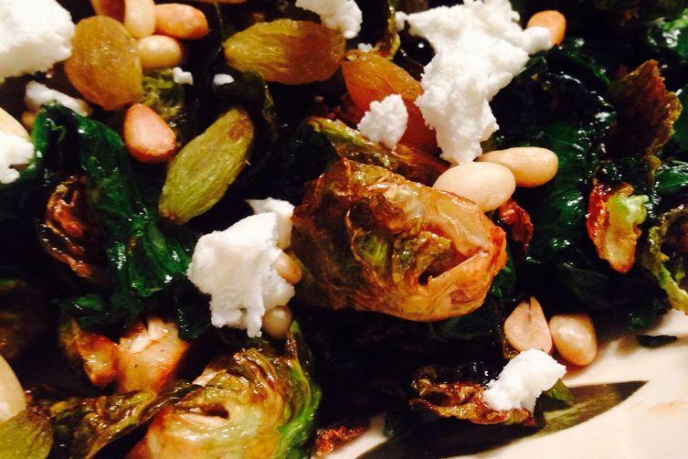 Crispy Brussels sprouts with kale + an addictive pomegrante molasses vinaigrette