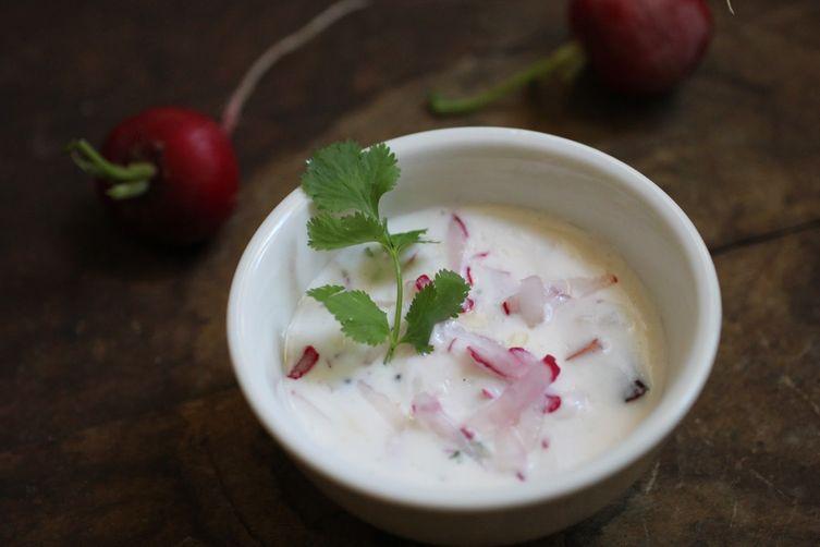Radish Yogurt Raita with Fresh Coconut & Fried Spices