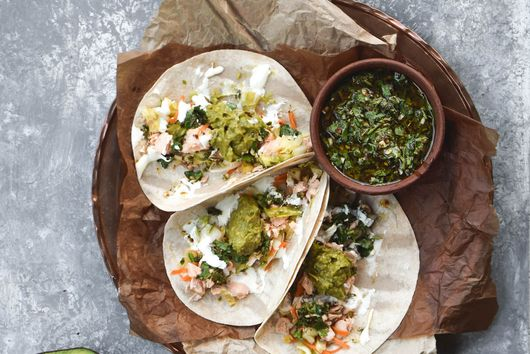Chimichurri Salmon Tacos with Cilantro Pineapple Slaw