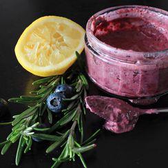Salad dressing with blueberries, dijon mustard, olive oil & sesam
