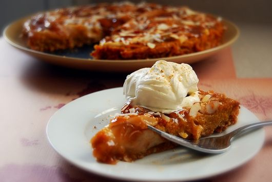 Kabocha-Satsuma Asian Pear Tart with Almond-Maple Caramel