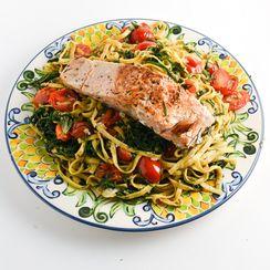 Salmon Over Linguine With Agretti