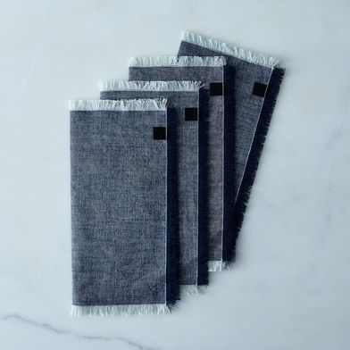 Chambray Fringed Dinner Napkins (Set of 4)