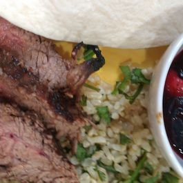 Raspberry Chipotle Flank Steak with Green Rice