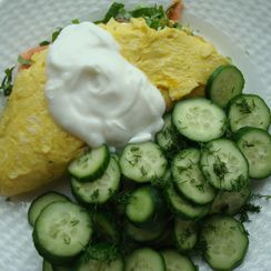 Ramp and Smoked Salmon Omelette with Goat-Milk Yogurt