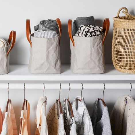 Italian Storage Bins with Leather Handles