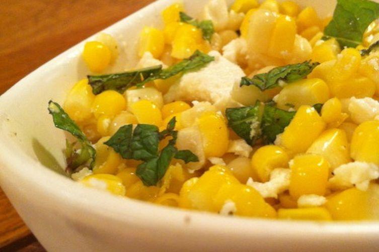 Corn with mint and ricotta salata