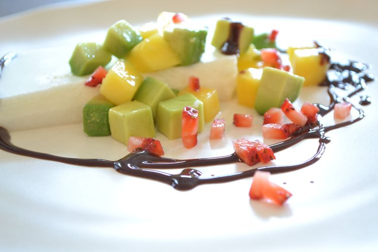 Coconut Panna Cotta with Avocado and Mango