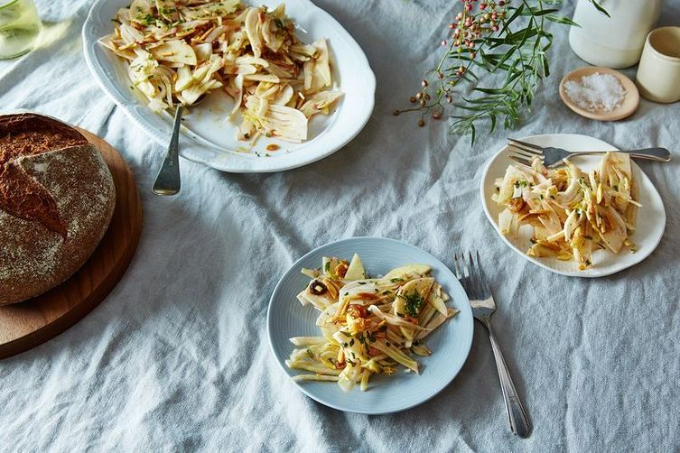 Shaved Fennel and Apple Salad with Sultanas, Mint, and Almonds