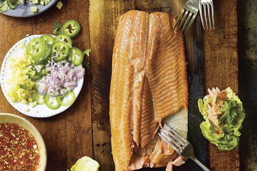 Leela Punyaratabandhu's Cedar-Plank Salmon Salad Bites