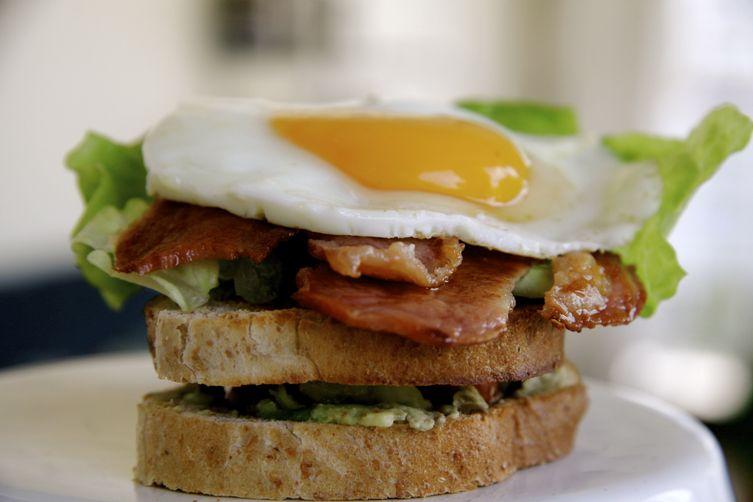 Bacon, Lettuce, Tomato, Avocado and Fried Egg Sandwich