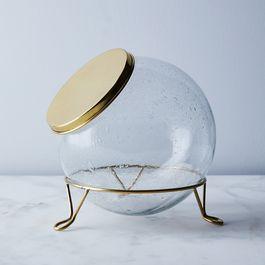 Glass & Brass Scullery Jar