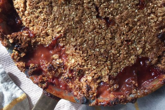 Rhubarb Strawberry Crumble with Sesame Streusel