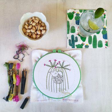 Cactus Bird Embroidery Kit