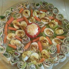 Foolproof Rolled Sandwiches Party Tray with Tomato Dip & Deviled Eggs
