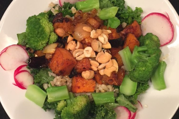 Kale & Farro Salad with Spicy Butternut Squash, Broccoli, Radishes & Cashews