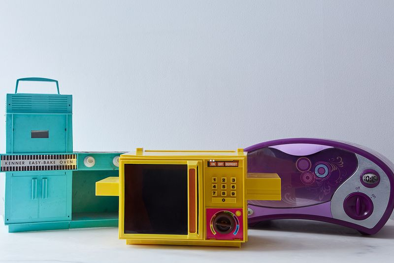 The Easy-Bake Oven over three eras (L-R) from 1963, 1978, and 2011.