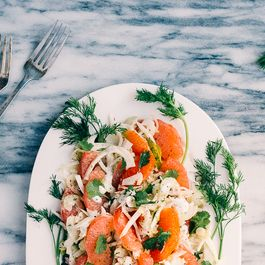 Citrus Salad with Shaved Fennel, Celery, and Cilantro-Yogurt Dressing