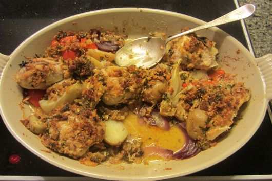 Sunday Chicken with Roasted Vegetables and Garlic Breadcrumbs