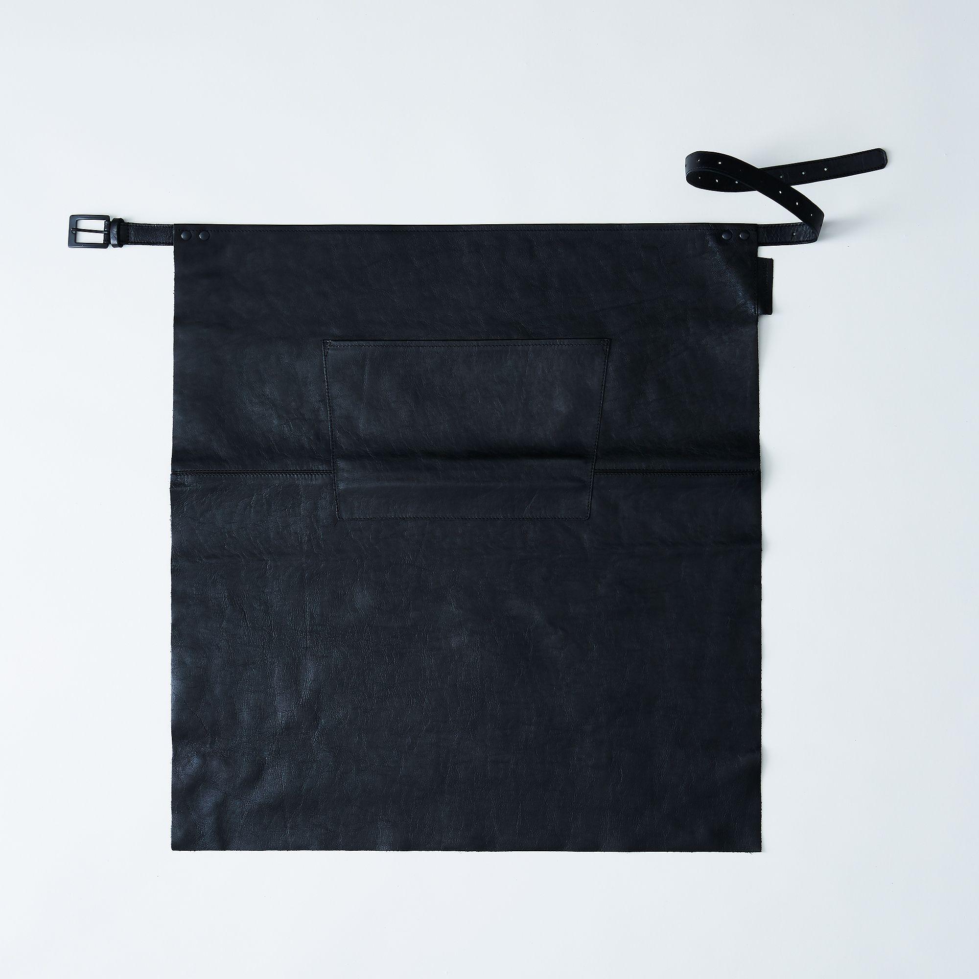 Black leather apron.