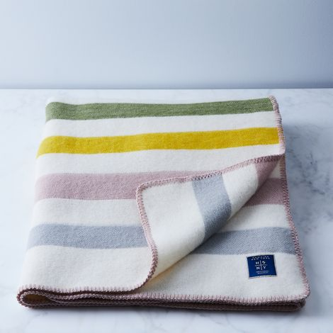Wool Blend Striped Throw