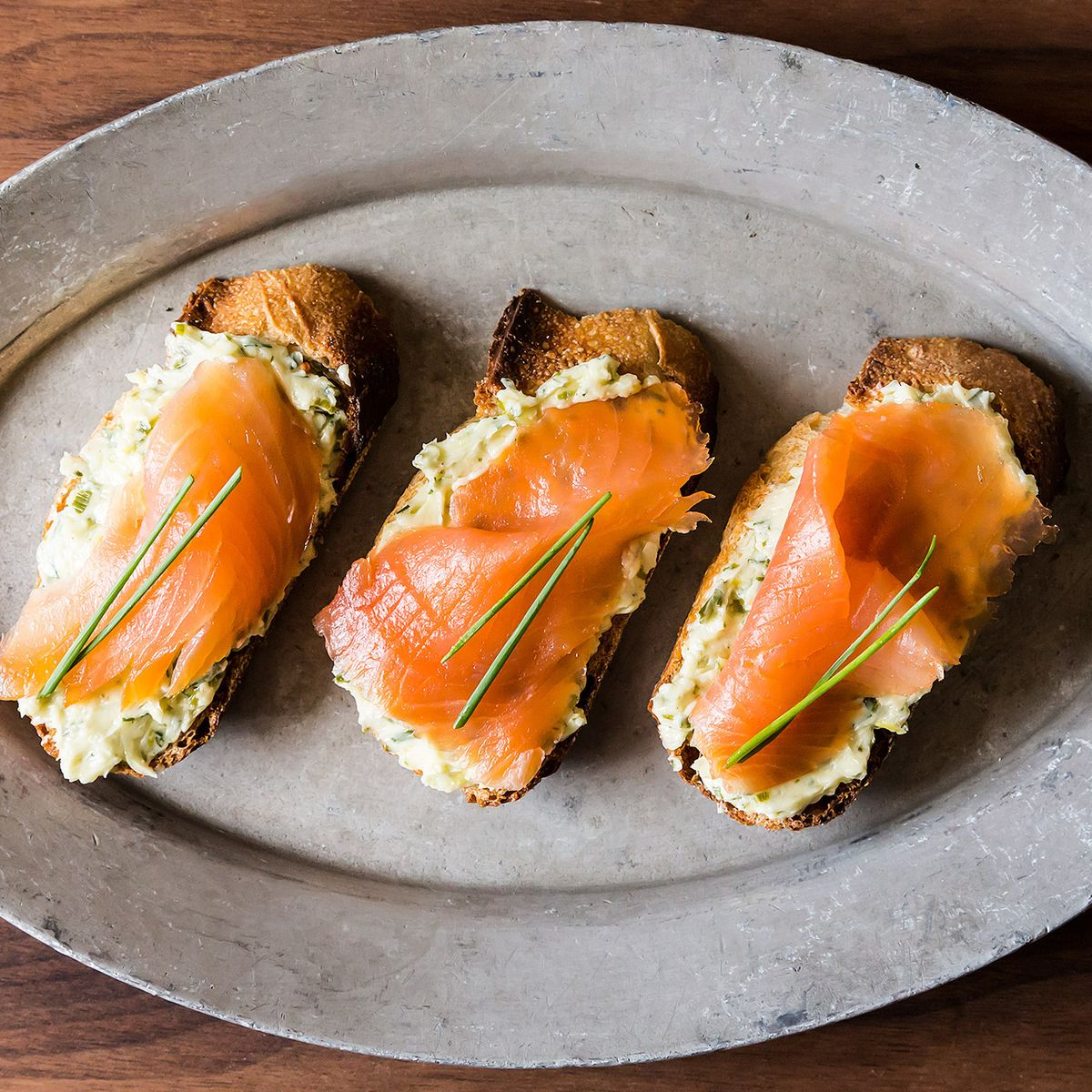 Smoked Salmon On Mustard Chive And Dill Butter Toasts Recipe On Food52
