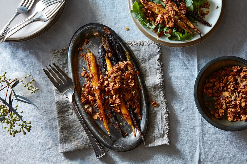 Savory granola finds a happy home on roasted vegetables and greens.