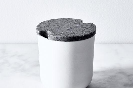 Corian & Stoneware Garlic Jar