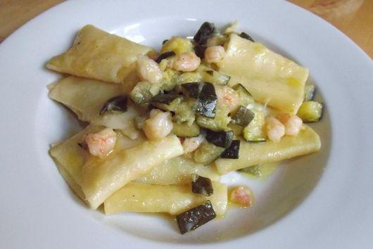 Paccheri ai Gamberetti (Large Tubes with Rock Shrimp and Zucchini)