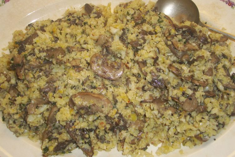 Mushroom pilaf with cauliflower rice