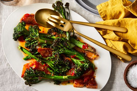 Scorched Persimmons & Broccolini With Honey-Chile Vinaigrette