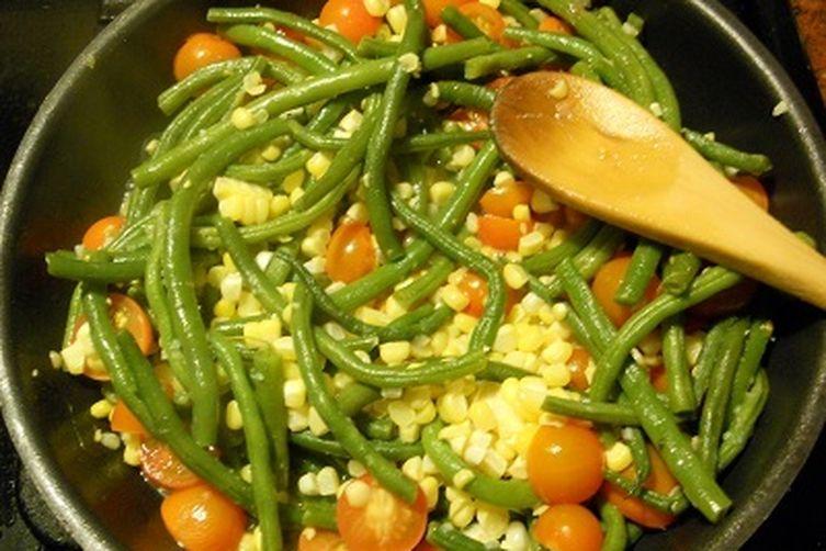 Sweet Corn, Green Bean and Cherry Tomato Salad