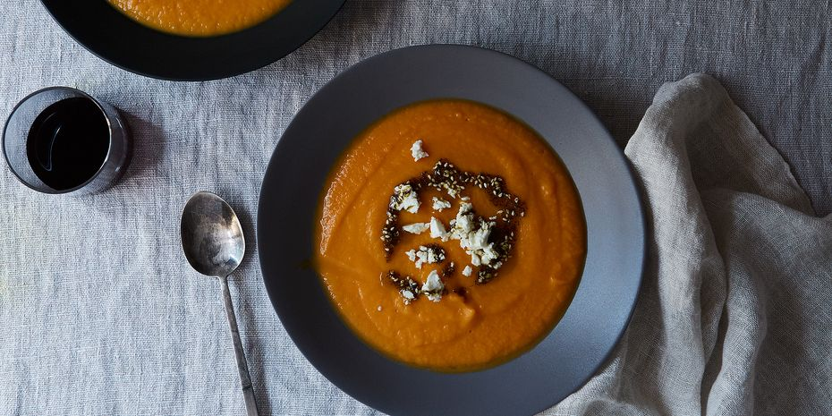 Top sweet potato soup with feta and za'atar oil