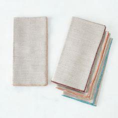 Trimmed Gray Linen Napkins (Set of 4)