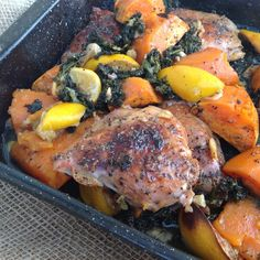 Greek chicken baked with kale and sweet potato