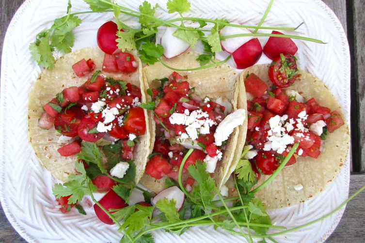 Heather Christo's Grilled Halibut Tacos with Watermelon Salsa